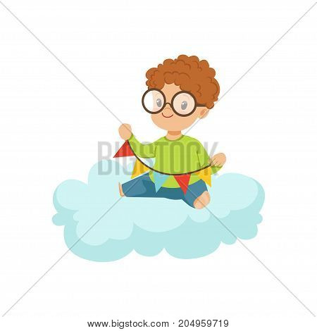 Cute little boy sitting on cloud playing with party flags, kids imagination and dreams vector illustration isolated on a white background