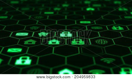 The camera flies through a internet icons in hexagon cells on dark background. Interface web icons are located on the screen with small pixels. Beautiful Digital Interface with Icons and Links.