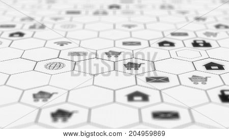 internet icons in hexagon cells on dark background. Interface web icons are located on the screen with small pixels. Beautiful Digital Interface with Icons and Links.