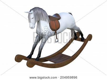 3D Rendering Rocking Horse On White