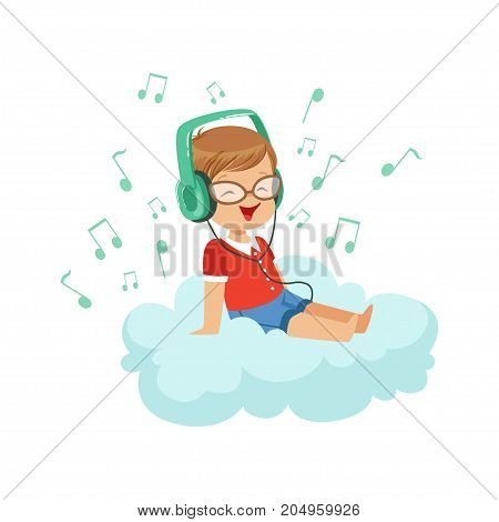 Cute little boy sitting on cloud listening music with headphones, kids imagination and dreams vector illustration isolated on a white background