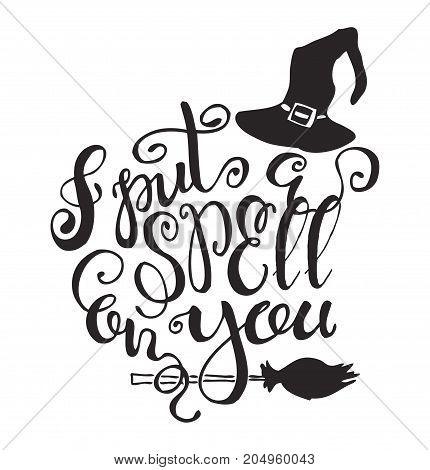 Halloween label with Hand drawn witch hat and broom vector illustration and quote