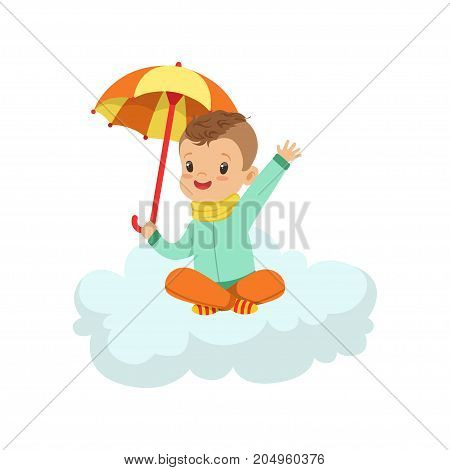 Cute little boy sitting on cloud under umbrella, kids imagination and dreams vector illustration isolated on a white background