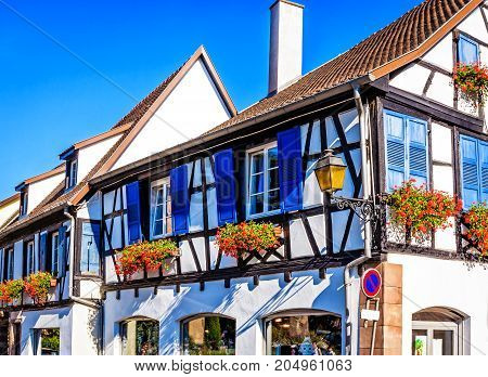 Picturesque half-timbered houses in Obernai, near Strasbourg, France