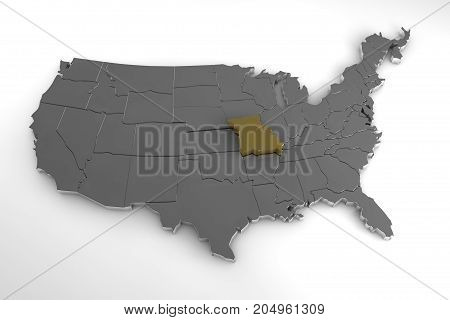 United States of America, 3d metallic map, with Missouri state highlighted. 3d render