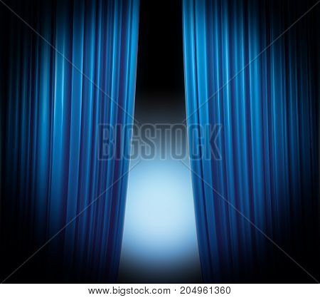 Illuminated blue curtain closing on black background with softly fading spotlight