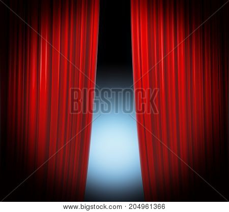 Illuminated red curtain closing on black background with softly fading spotlight