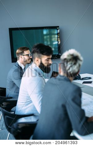 Picture of architects on business meeting in their office