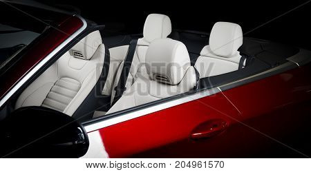 Modern race car interior. Sport seat details, white leather, cabriolet