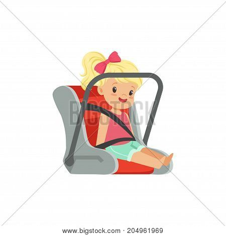 Sweet little girl sitting in car seat, safety car transportation of small kids vector illustration isolated on a white background