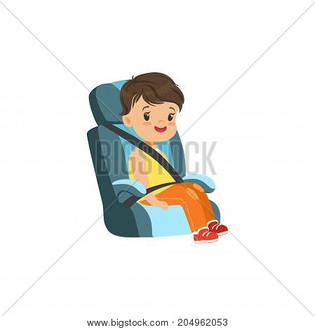 Cute little boy sitting in blue car seat, safety car transportation of small kids vector illustration isolated on a white background