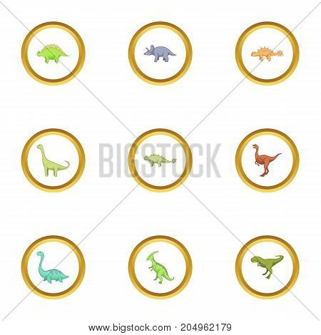 Different dinosaurs icons set. Cartoon style set of 9 different dinosaurs vector icons for web design