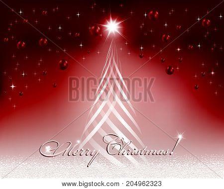 Christmas red design with Christmas tree and Christmas balls