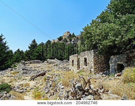 Ruins of the deserted village and the fortress Palio Pyli on the island of Kos in Greece