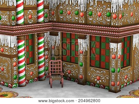 3D rendering of a Christmas gingerbread house
