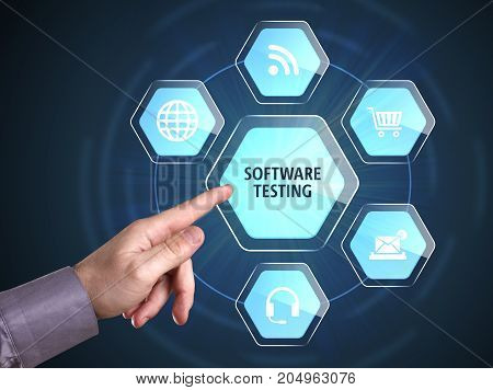 Business, Technology, Internet And Network Concept. Young Businessman Shows The Word: Software Testi