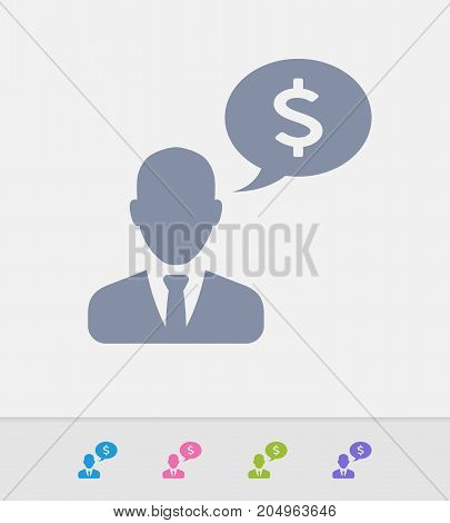 Businessman & Speech Bubble - Granite Icons. A professional, pixel-perfect icon designed on a 32 x 32 pixel grid and redesigned on a 16 x 16 pixel grid for very small sizes.