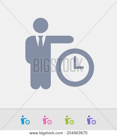 Businessman Holding Clock - Granite Icons. A professional, pixel-perfect icon designed on a 32 x 32 pixel grid and redesigned on a 16 x 16 pixel grid for very small sizes.