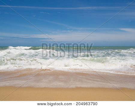 Beach with blue sea and white cloud in sand beach in summer.