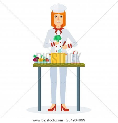 Woman chef vector flat design. Isolated on a white background. Character for illustrating cooking food cooking utensils cooking process