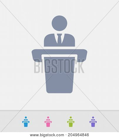 Businessman Holding Speech - Granite Icons. A professional, pixel-perfect icon designed on a 32 x 32 pixel grid and redesigned on a 16 x 16 pixel grid for very small sizes.
