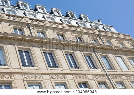 Stoned Facades Of Bordeaux City In France