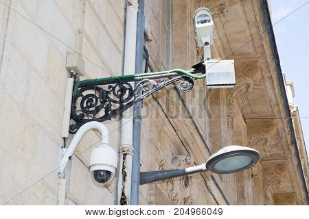 Security Camera And Urban Video At Public Area.