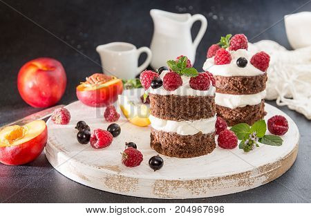 Chocolate Cake Decorated With Raspberry, Black Currant, Nectarine, Wipped Cream And Mint.