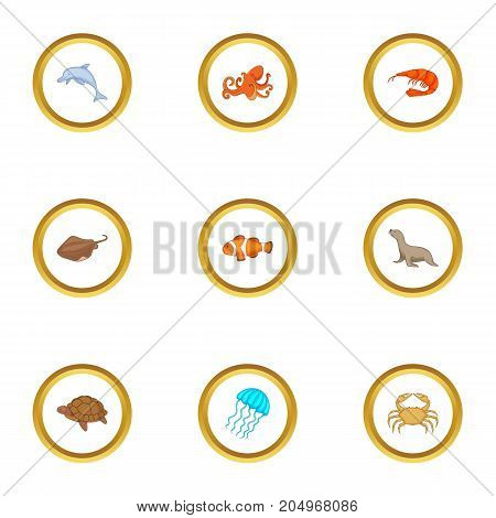Water wildlife icons set. Cartoon style set of 9 water wildlife vector icons for web design