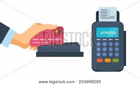 Concept of pos terminal and payments systems. Financial transactions. Hand hold a bank card and conducts it on the terminal for the successful payment process. Vector illustration isolated.