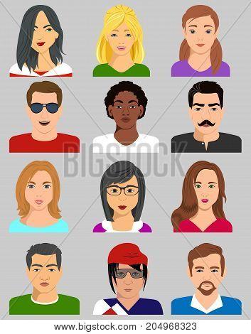 Mixed avatars, women and men .Vector illustration