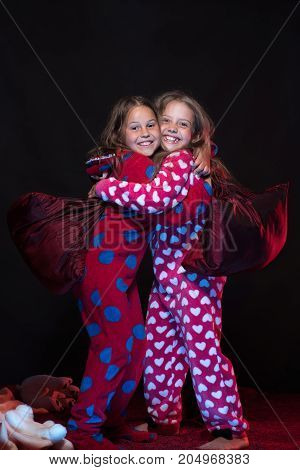 Girls With Happy Faces Hugging Tight. Friends Having Fun