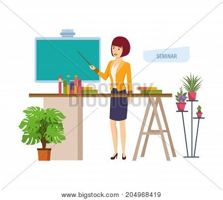 Business seminar in office next to workplace. Professional corporate training about marketing, presentation, education for colleage, conference. Vector illustration isolated in cartoon style.