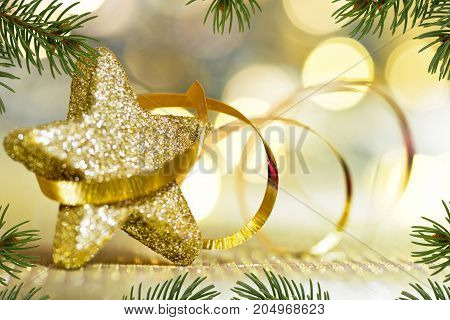 Golden Christmas Star with Ribbon and Needles