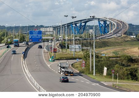 LE HAVRE FRANCE - AUGUST 23, 2017: French highway near Le Havre between Pont de Normandie and the bridge over Canal du Havre