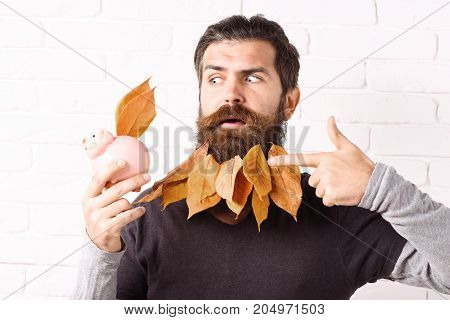 Hipster With Leaves In Beard