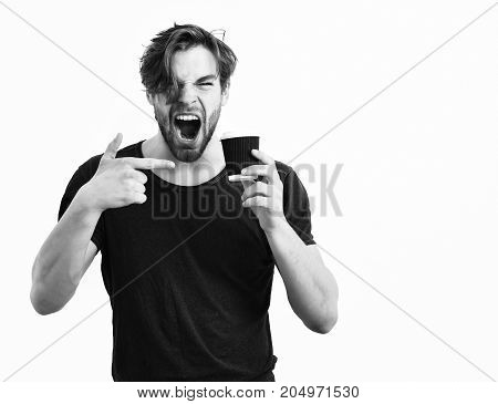 Caucasian Sexy Young Macho Holding Coffee Cup