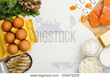 Natural sources of vitamin d. Healthy food background. Top view. Space for text