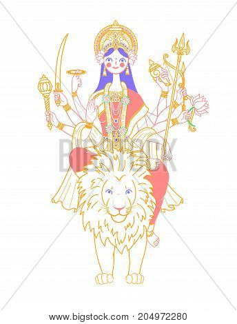 Icon Of Goddess Durga  On A Lion