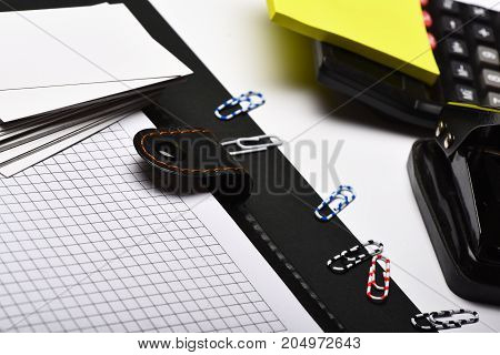 Stationery And Leather Covered Notebook With Blank Pages