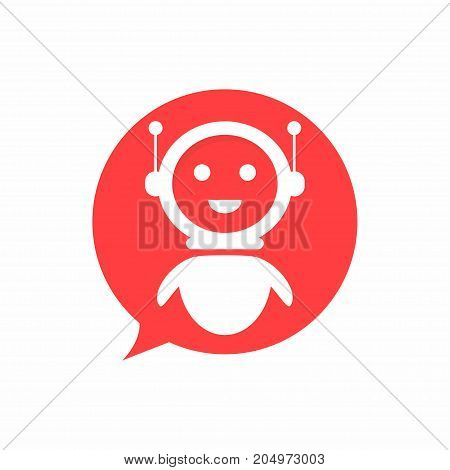Chat Bot Icon In Speech Bubble Shape Background. Virtual Assistant For Website. Chat Bot Concept For