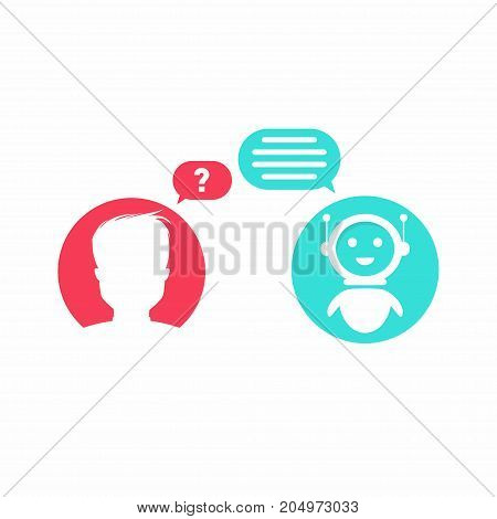 Chatbot Concept. Man Is Asking Question To Chatbot. User Icon And Virtual Assistent Icon Chating