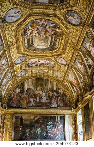 NAPLES - JUNE 7: Certosa Di San Martino painting and decorations of the Farmacie halls on June 7 2015