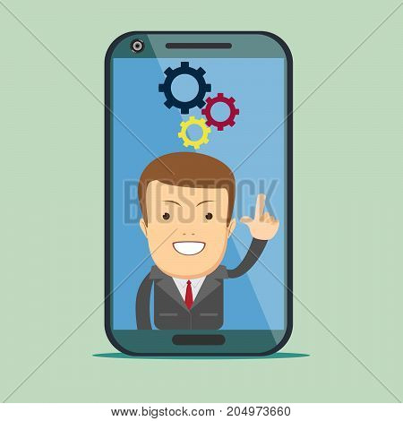 Screen smartphone with virtual assistant - businessman. Hi-tech flat design concept. Stock vector illustration.
