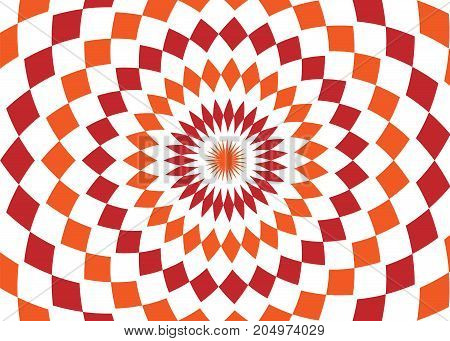 Abstract background design texture with red and orange rounded twirl chequered elements. Creative vector fabric pattern with shapes of small rhombus. Simple soft graphic images for wallpaper or web.