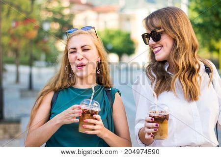 Happy Gossip Girls Walking In The City