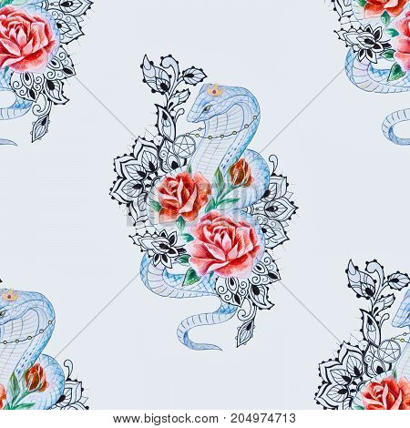 Seamless pattern of cobra in roses on white background.