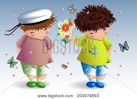 Gay Couple. The Guy Gives Flowers To His Boyfriend. Love Of Two Young Men. Homosexual Love. Family O