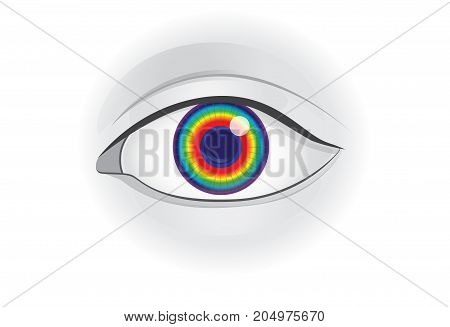 Spectrum in human eye lens. Illustration about focus light onto the retina and vision.