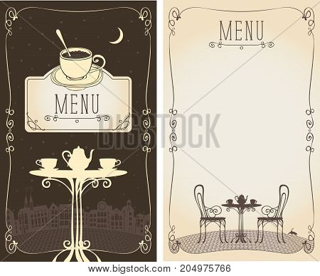 Vector menu for a cafe or restaurant with place for text and image of the table with a kettle and cups on the background of the night old european cityscape moon and cat